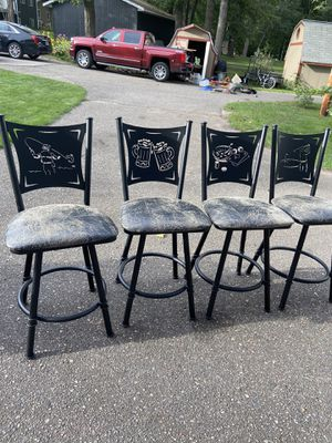 Stools. Counter height, black, weathered level, swivel for $175. for Sale in Motley, MN