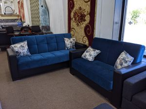 No credit needed blue microfiber sofa bed sofa and loveseat for Sale in College Park, MD