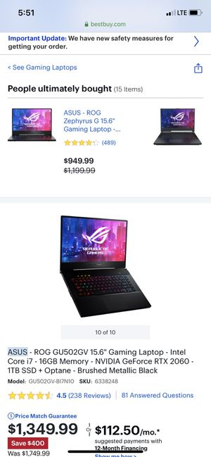Asus gaming computer for Sale in Philadelphia, PA