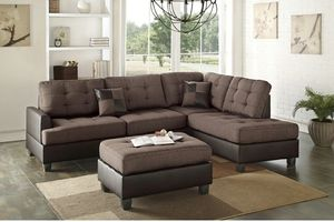Bobkona 3 pcs sectional sofa w/ cocktail ottoman for Sale in Friant, CA