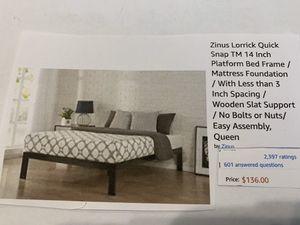 Platform queen metal bedframe for Sale in Columbia, MD