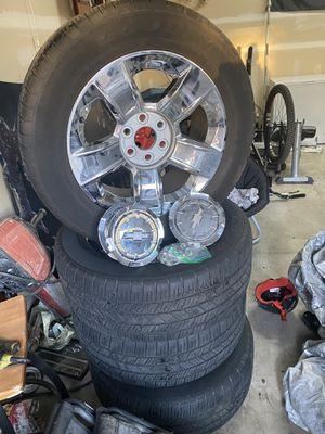 20 inch tires and rims Chevy chrome with bolts and all for Sale in Maple Valley, WA