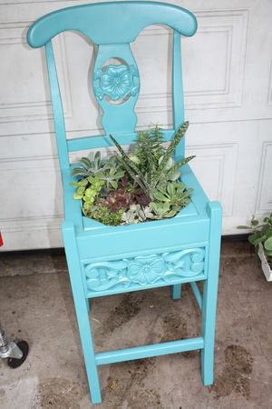 Pacific blue chair succulent garden for Sale in Long Beach, CA