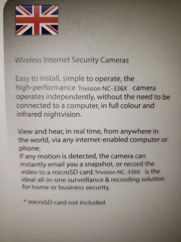 Trivision wireless camara - pullet proof, water proof. New open box