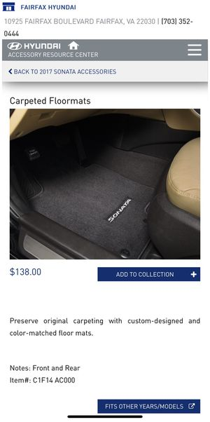 Carpeted Floormats for Hyundai Sonata (new). for Sale in Fairfax, VA