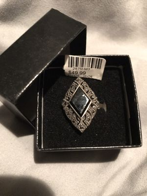 Sterling Silver Black Agate Marcasite Ring for Sale in Olympia, WA