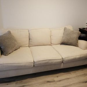 Nice Off White Sofa, Heavy Frame And Wooden Feet for Sale in Long Beach, CA