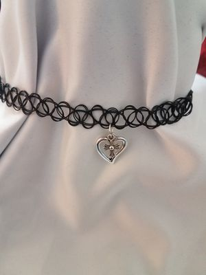 HandMade Choker With Two Charms a Heart & Cross (Read Description) for Sale in Cleveland, OH