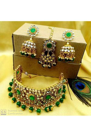 22k gold plated Kundan jewelry set high quality stone for Sale in Silver Spring, MD