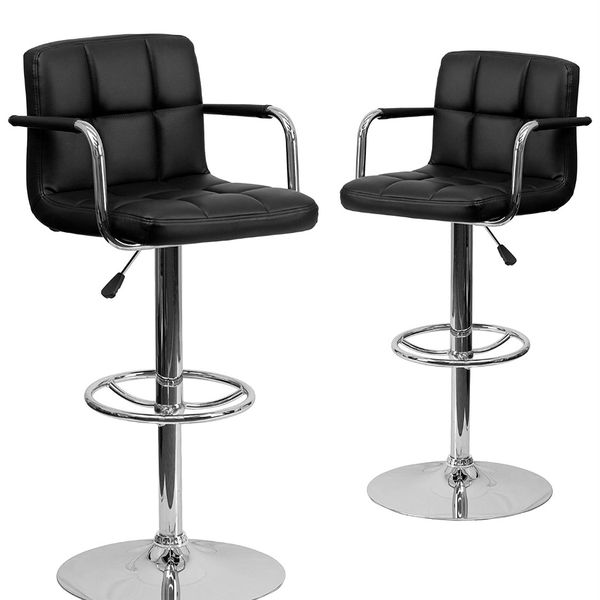 2 Black Faux Leather Bar Stools brand New