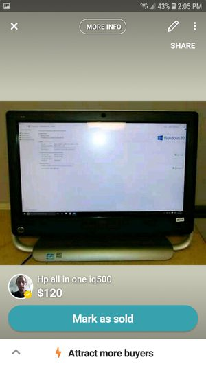 Hp all in one touch sense iq500 for Sale in Asheville, NC