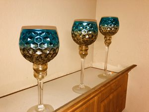 Glass Candle Holder Cups - Blue and Gold - Home Decor for Sale in Lehigh Acres, FL