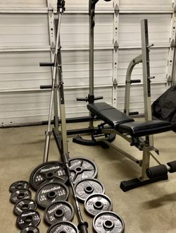 Heavy Duty Squat Rack With Pulling System /weight Bench And Weight Set for Sale in Kent,  WA