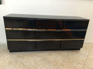 Vintage 80s black gold dresser and mirror for Sale in Etiwanda, CA