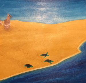 Sea turtles on a beach painting for Sale in MERRIONETT PK, IL