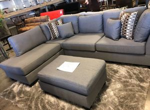 Brand New Reversible Grey Linen Sectional Sofa Couch + Ottoman for Sale in South Kensington, MD