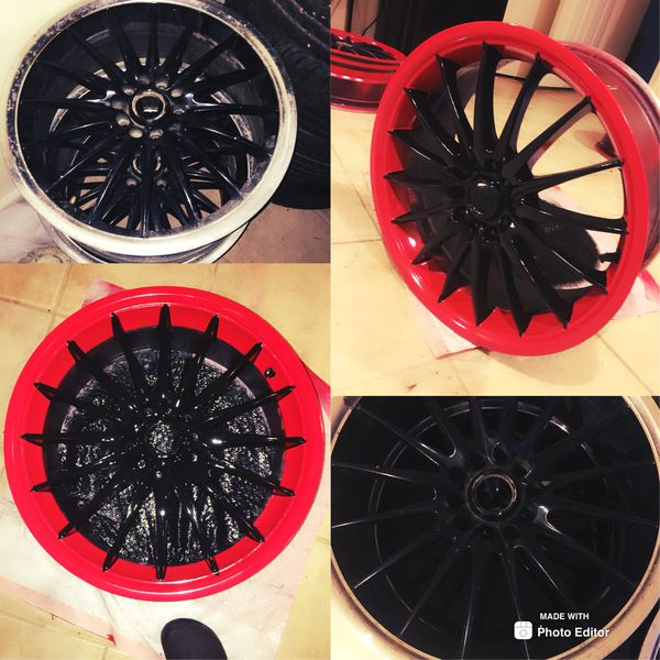 """17"""" red and black rims."""