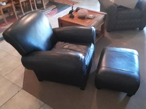 Pottery Barn leather chair and ottoman for Sale in Clovis, CA