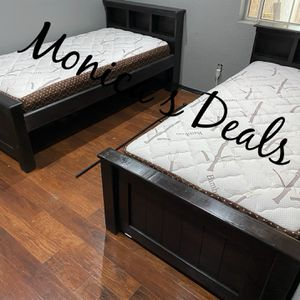 Twin Solid Wood Beds & Bamboo Mattresses $540 for Sale in Downey, CA