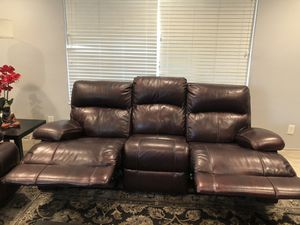 Smooth Brown Shiny Leather Recliner 3+2 Couch for sale for Sale in Fremont, CA