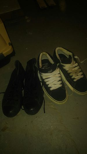 Black converse all star and pair of vans both size 7 womens for Sale in Weirton, WV