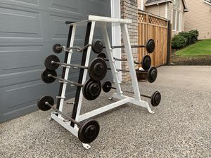 Workout Fixed Barbell Weights 300lbs Total (20-55lbs) & Heavy-Duty Rack for Sale in Portland, OR