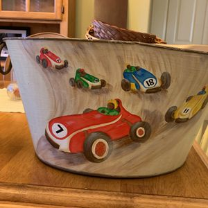Racing Cars Basket/tub For Kids for Sale in Sarasota, FL