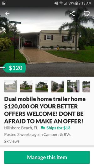 Trailer home dual mobile home $89,000 or better offers welcome, don't be afraid to negotiate 👌 for Sale in Hillsboro Beach, FL
