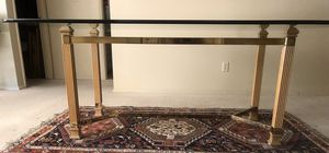 Modern MCM large Bernhardt wood brass and glass dining table for Sale in Tempe, AZ