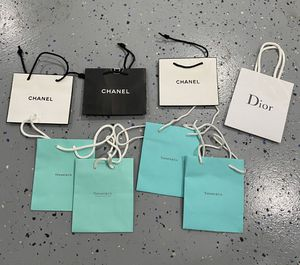 Set of authentic Tiffany's, Chanel, Dior, paper bags (small) for Sale in Monrovia, CA