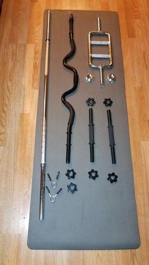 "Standard 1"" barbell combination 1x 5 foot straight bar 1x 4 foot curl bar 1x 2 foot tricep bar 2x dumbbell handles for Sale in Montebello, CA"