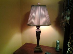 Two matching detailed lamps with silk pleated lined shades,embroidered trim for Sale in Revere, MA