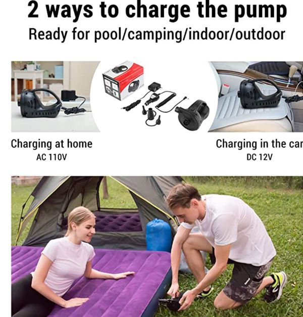 Portable Quick-Fill Electric Air Mattress Pump for Pool Floats, Rechargeable Inflator Deflator with 110V AC & 12V DC Adapter, Black