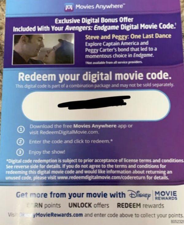 Marvel Disney Avenger Movie Digital HD Code