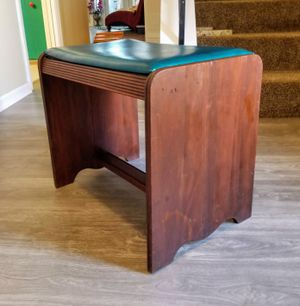Vintage Wooden small Stool Ottoman Bench with Turquoise Leather Top for Sale in San Antonio, TX