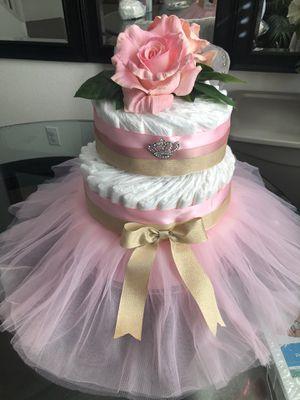 Diaper Cake, Pink & Gold Color, Tiara Tutu Baby Girl Baby Shower Newborn for Sale in Riverside, CA