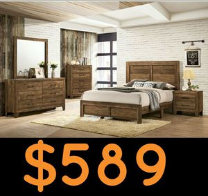 Rustic antique style solid wood 4PC full bedroom set (bed frame+dresser +mirror +nightstand) for Sale in Fullerton, CA