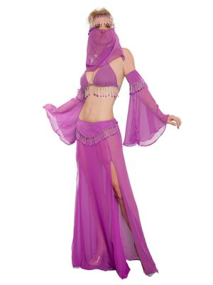 Adult Sheer Purple Genie Sexy Costume Halloween Bellydance Costume + NuBra for Sale in Miami, FL