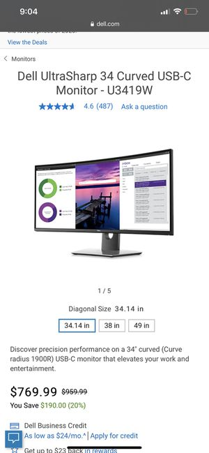 Dell UltraSharp 34 Curved USB-C Monitor - U3419W for Sale in Houston, TX