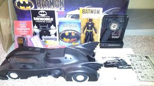1989 Batman NECA TRU exclusive action figure with 1990 Richman Batmobile RC car and Diamond Luxe Edition Blu-ray movie for Sale in Colorado Springs, CO