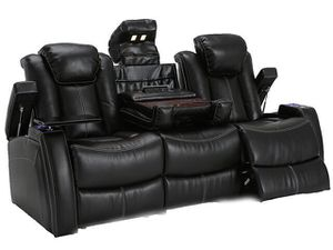Seatcraft Omega Sofa Leather Gel, Powered Headrest, Power Recline, Black for Sale in Fairview, PA