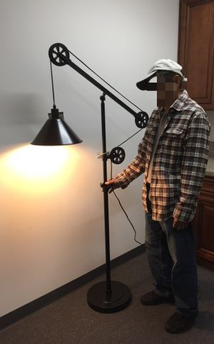 New in box 72 inches tall pulley floor lamp with led light bulb included heavy duty bronze steel finish for Sale in West Covina, CA