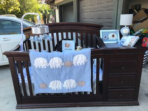Dark wood Crib set with changing table and dresser for Sale in Corona, CA