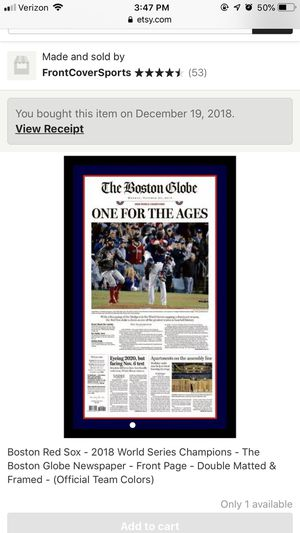 Boston Red Sox- World Series Boston Globe Newspaper Article for Sale in Baltimore, MD