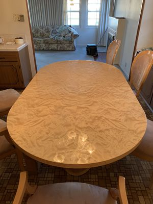 Very nice dinner table with leaf. Six chairs everything is in great shape for Sale in Santa Ana, CA