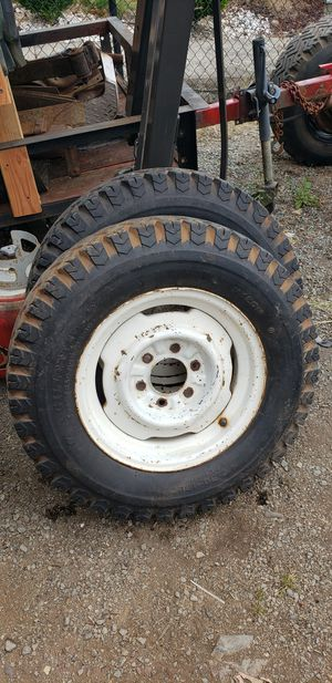 Set of 2 1967 C10 original tires and rims 6.50-16LT for Sale in Stanwood, WA