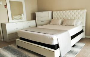 New queen white nailhead bed frame Dresser chest and mirror mattress is not included for Sale in Orlando, FL