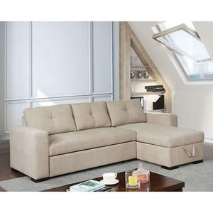 BEIGE SMALL WEAVE CHENILLE SECTIONAL SOFA STORAGE CHAISE BED / CAMA SILLON for Sale in Moreno Valley, CA