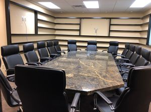 Large solid granite conference room table w/ 16 chairs for Sale in Evergreen, CO