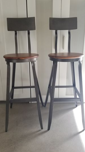 2 heavy duty wood/metal Hudson pub stool $140 for both like brand new! for Sale in Tacoma, WA